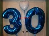 Folienballon Zahlen Geburtstag 30 und Herz weiß