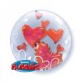 Folienballon 3-D Bubble Herzen Rot