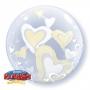 Folienballon 3-D Bubble Herzen weiß