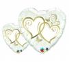 Folienballons Hochzeit 45cm und 90cm Gold-Weiss