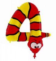 Folienballon-Zahl-4-Schlange
