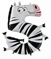 Folienballon-Zahl-5-Zebra