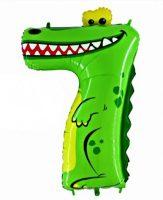 Folienballon-Zahl-7-Krokodil