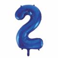 Zahlenballon 2 Blau 86 cm hoch
