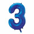Zahlenballon 3 Blau 86 cm hoch