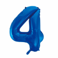 Zahlenballon 4 Blau 86 cm hoch