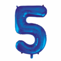 Zahlenballon 5 Blau 86 cm hoch