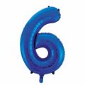 Zahlenballon 6 Blau 86 cm hoch