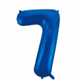 Zahlenballon 7 Blau 86 cm hoch