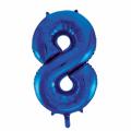 Zahlenballon 8 Blau 86 cm hoch