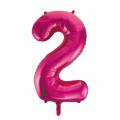 Zahlenballon 2 Pink 86 cm hoch