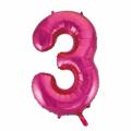 Zahlenballon 3 Pink 86 cm hoch