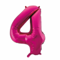 Zahlenballon 4 Pink 86 cm hoch
