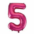 Zahlenballon 5 Pink 86 cm hoch