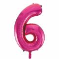 Zahlenballon 6 Pink 86 cm hoch