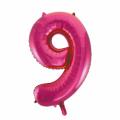 Zahlenballon 9 Pink 86 cm hoch