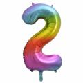 Zahlenballon 2 Regenbogen 86 cm hoch