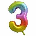 Zahlenballon 3 Regenbogen 86 cm hoch