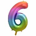 Zahlenballon 6 Regenbogen 86 cm hoch
