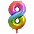 Zahlenballon 8 Regenbogen 86 cm hoch