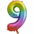 Zahlenballon 9 Regenbogen 86 cm hoch