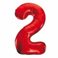 Zahlenballon 2 Rot 86 cm hoch
