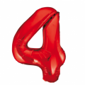 Zahlenballon 4 Rot 86 cm hoch