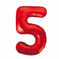 Zahlenballon 5 Rot 86 cm hoch
