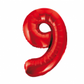 Zahlenballon 9 Rot 86 cm hoch