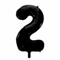 Zahlenballon 2 Schwarz 86 cm hoch
