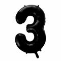 Zahlenballon 3 Schwarz 86 cm hoch