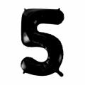 Zahlenballon 5 Schwarz 86 cm hoch