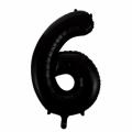 Zahlenballon 6 Schwarz 86 cm hoch