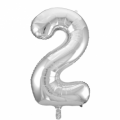 Zahlenballon 2 Silber 86 cm hoch