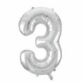 Zahlenballon 3 Silber 86 cm hoch