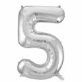 Zahlenballon 5 Silber 86 cm hoch