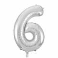 Zahlenballon 6 Silber 86 cm hoch
