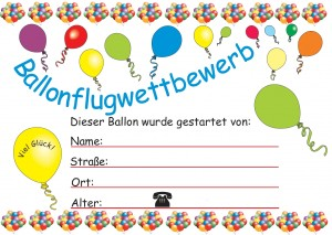 Ballonflugkarte Ballonflugwettbewerb