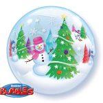 Bubbleballon Winterlandschaft Schneemann Weihnachtsbaum